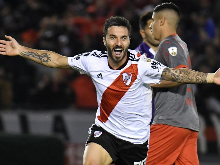 Scocco marcó 6 goles en cuartos de final para River: cinco a Wilstermann y uno a Independiente, ¿repetirá? (FOTO: Getty)