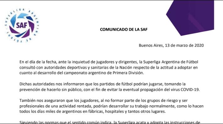 La Superliga anuncia que River será castigado