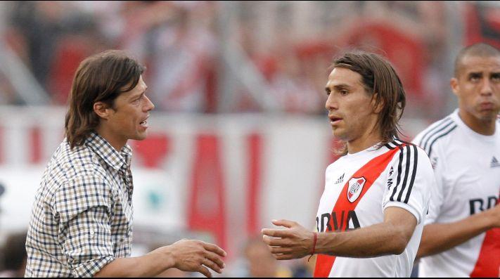 El León y Almeyda cuando era director técnico de River.