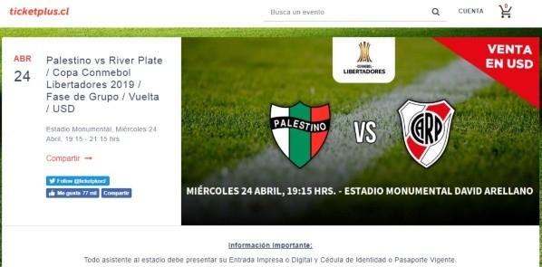 Las entradas para River ante Palestino en Chile se venderán ...
